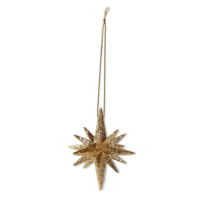 9 Point Gold Glitter Star Ornament