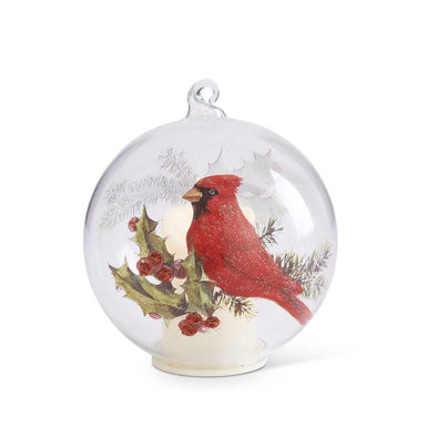 LED Cardinal & Holly Ornament