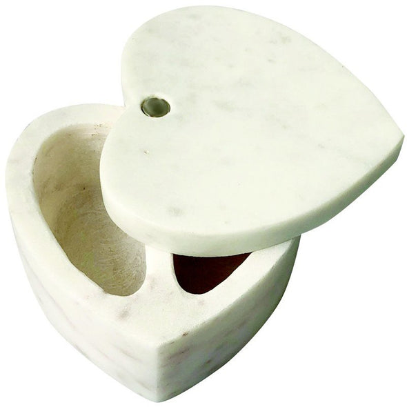 White Marble Heart Cellar w/ Pivoting Lid