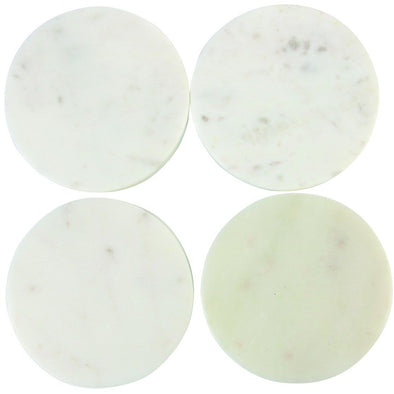 White Marble Round Coasters, Set of 4