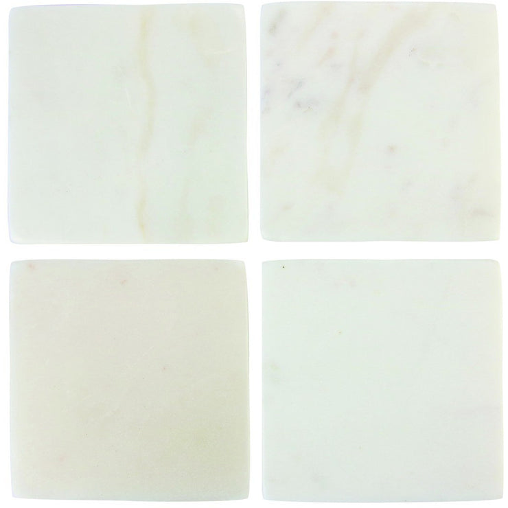 White Marble Square Coasters, Set of 4