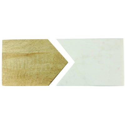 White Marble and Wood Two Piece Board
