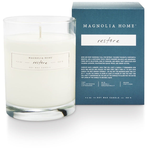 Boxed Glass Candle - Restore - Opal and Olive