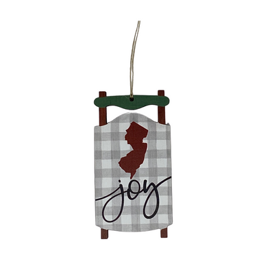 Joy Sled Ornament - New Jersey