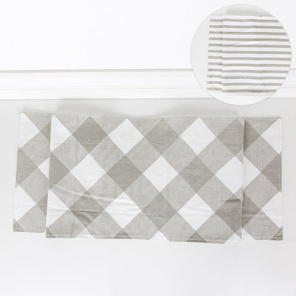 Double Sided Table Runner (Check/Stripes) Gray/White