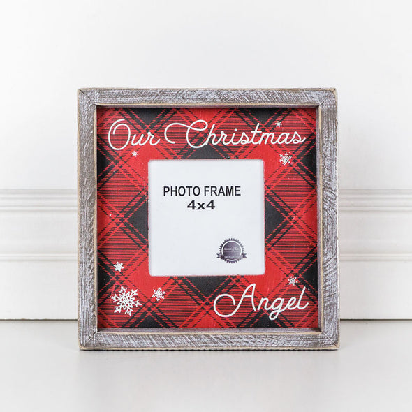 Wood Photo Frame (Our Christmas Angel) Red/White/Black