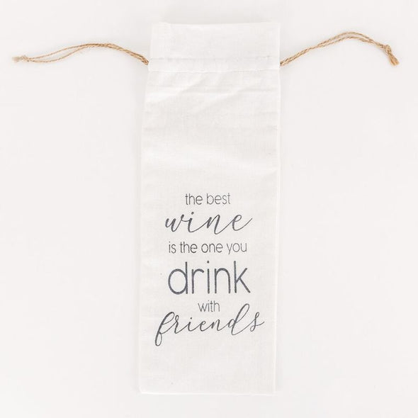 "5"" X 15"" X .25"" Linen Wine Bag (The Best Wine Is The...), White/Grey"