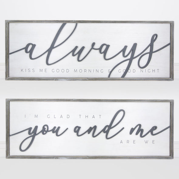 "47"" X 16"" X 1.5"" Reversible Wood Framed Sign (Always You And Me) White/Gray"