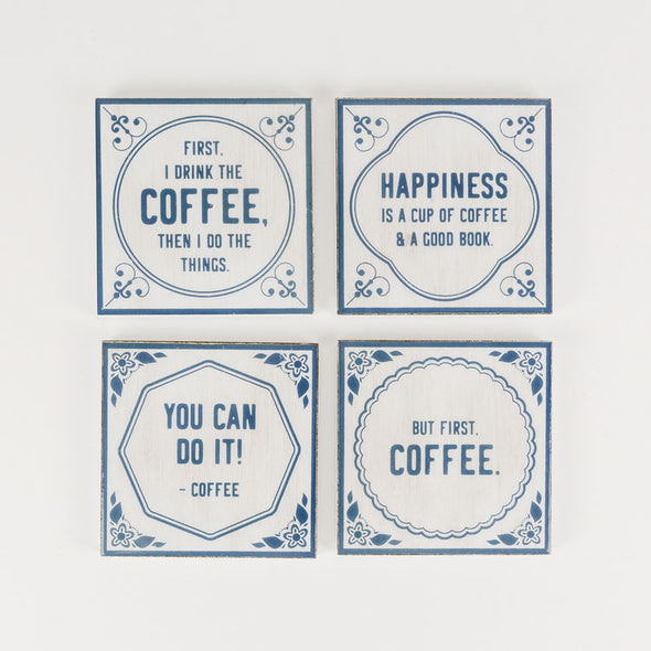 4X4X.25 Coaster S/4 (Coffee) White/Blue