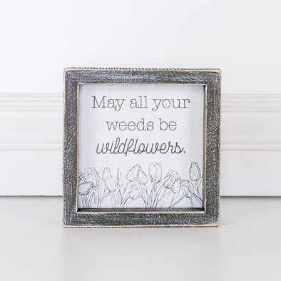 Wood Framed Sign - Wildflowers