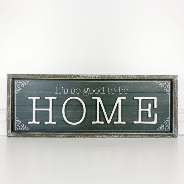 Double Sided Wood Framed Sign - HOME