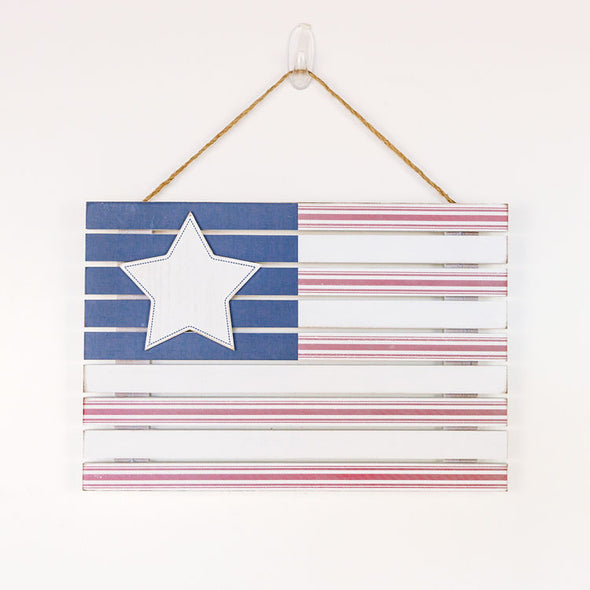 Hanging Wood Flag Sign