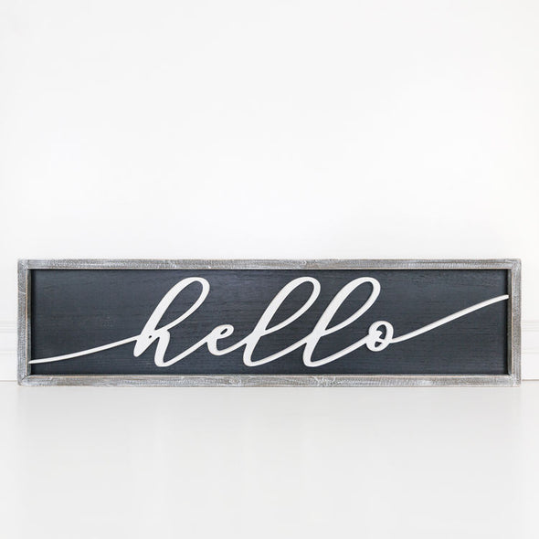 Reversible Wood Framed Sign - Hello