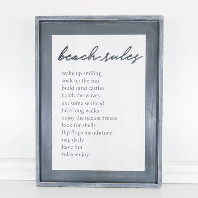 Double Sided Wood Frame - Beach Rules
