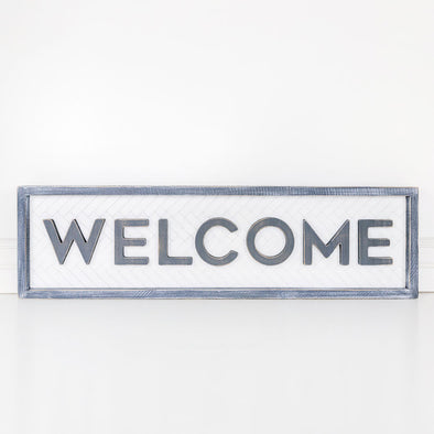 "Double Sided Wood Frame ""Welcome"""
