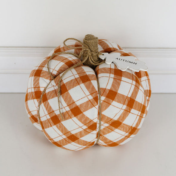 Autumn Puffy Orange Plaid Pumpkin LG
