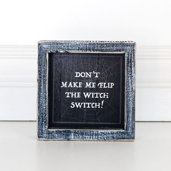 Flip A Witch Stich Framed Sign