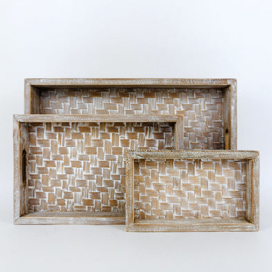 Nesting Rectangle Bamboo Tray Set of 3