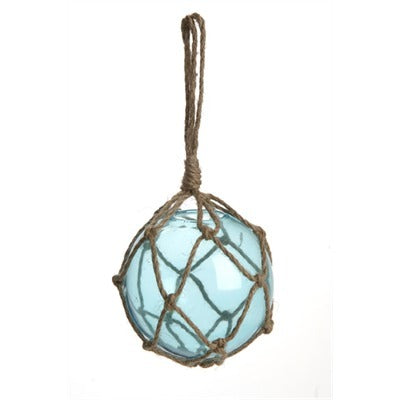 Jute Wrapped Glass Ball 4dx7 - Blue