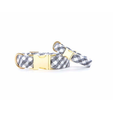 Gray and White Check Flannel Dog Collar - Medium