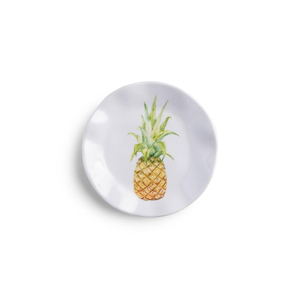 Small white dish with an colored image of a pineapple in the center