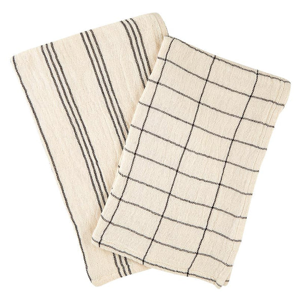 Kitchen Towel Natural And Black 2pc