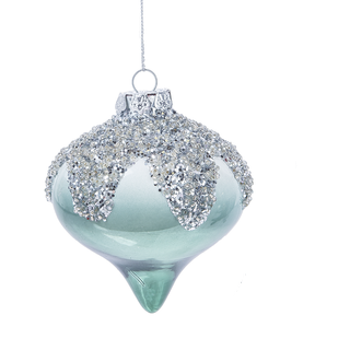 Blue and Silver Teardrop Ornament