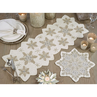 "Beaded Snowflake Runner 13"" x 35"""