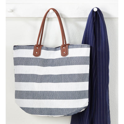 Blue and White Striped Tote Bag - Opal and Olive