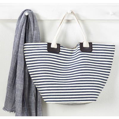Blue Stripped Tote Bag - Opal and Olive