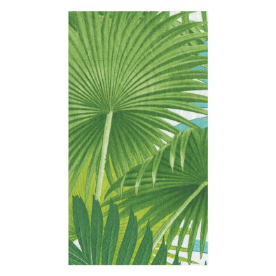 Guest Towel Napkin - Palm Fronds White