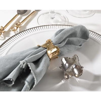 Pearl Ribbon Napkin RIng Gold