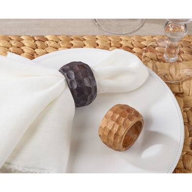 Chunky Wood Napkin Ring - Natural - Opal and Olive