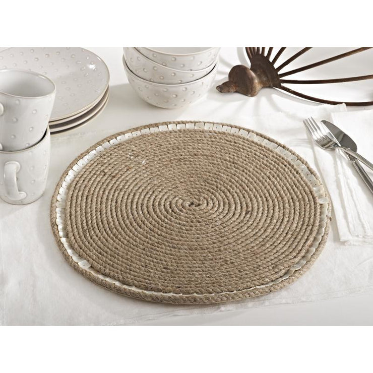 Jute Mother of Pearl Placemat - Opal and Olive