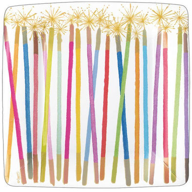 Birthday Candles Salad/Dessert Plates Square