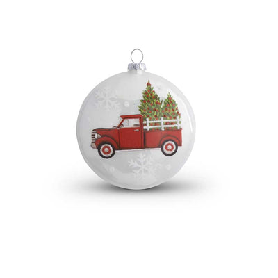 Red Truck Glass Flat Round Ornament 4.5""