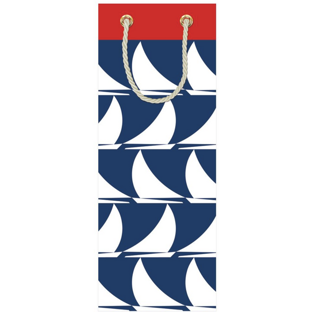 Sail Away-Navy Bottle Bag 5 X 3 1/2 X 13