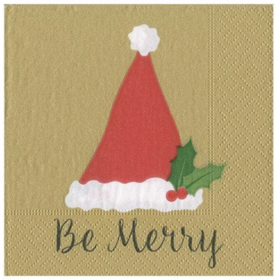 Cocktail Napkin - Be Merry Gold