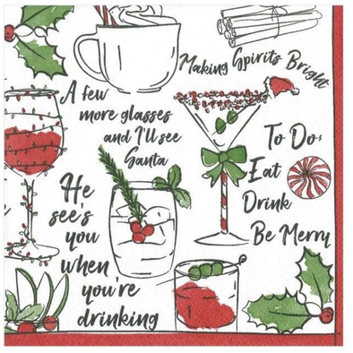 Cocktail Napkin - Holiday Spirits