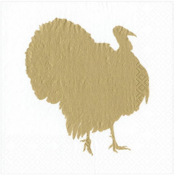 In this Design: The golden silhouette of a turkey.