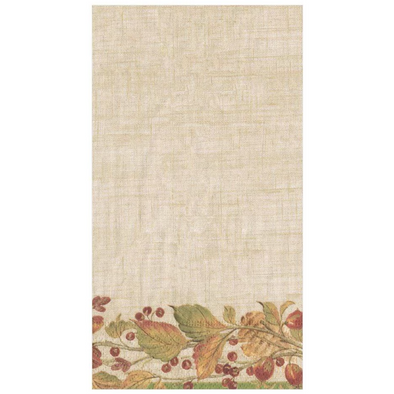 In this Design: Hand Painted autumn leaves and berries gather together to border a neutral, subtly textured linen background.