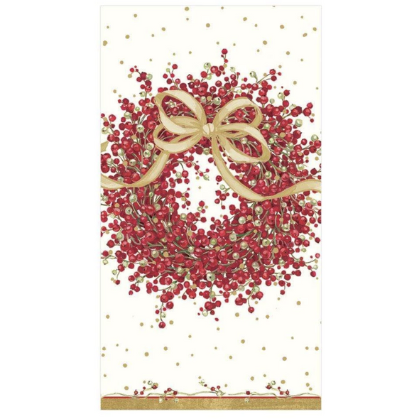 In this Design: A pretty red pepperberry wreath is tied with a flowing golden bow.