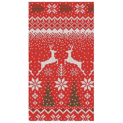 In this Design: Red, white, and green stitches create a Nordic sweater-inspired winter scene on leaping deer and Christmas trees.
