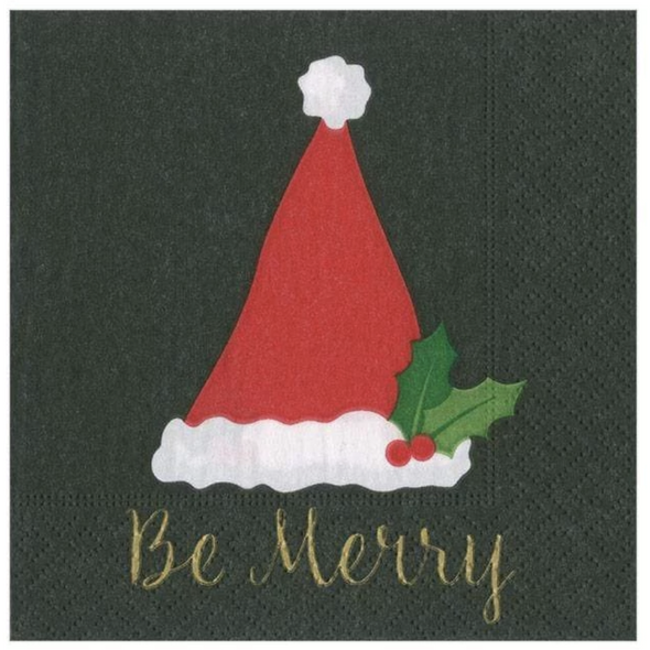 In this Design: A Santa hat trimmed with holly encourages merriment during the holiday season.