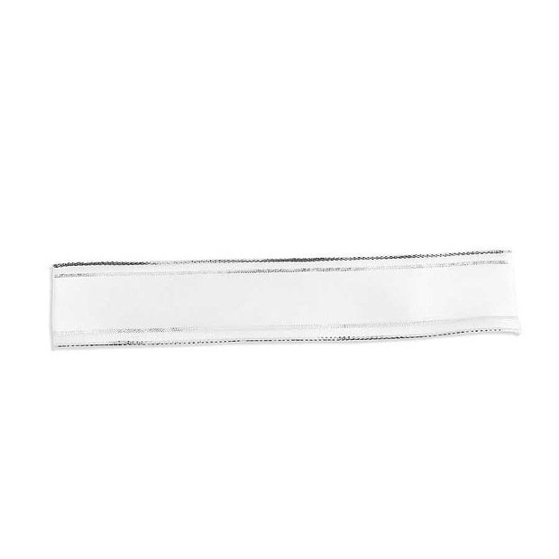 "White Sheer Ribbon with Silver Edge 1.5""W x 10yd"