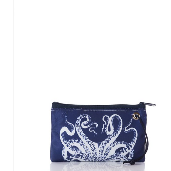 White on Navy Octopus Wristlet