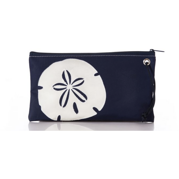 White on Navy Sand Dollar Wristlet