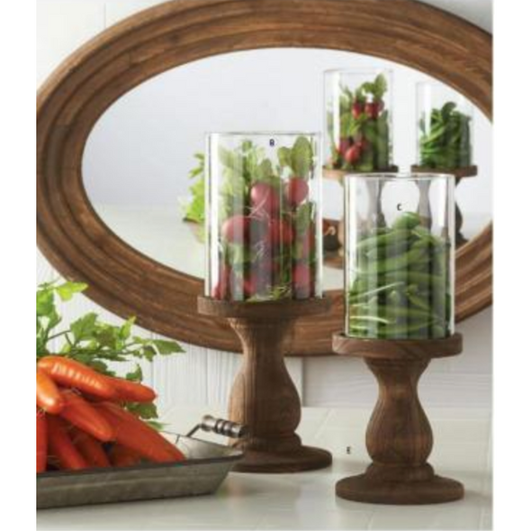 Glass Cylinders w/Wood Pedestal Candleholder