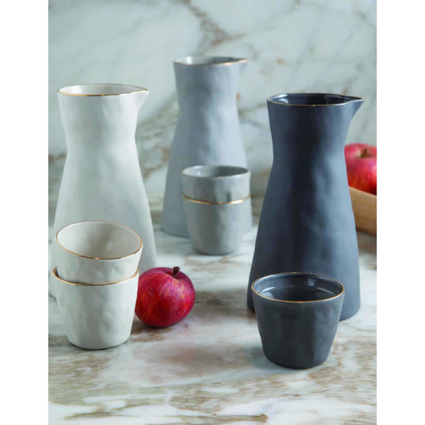 Gold Rim Stoneware Carafe, Slate - Opal and Olive
