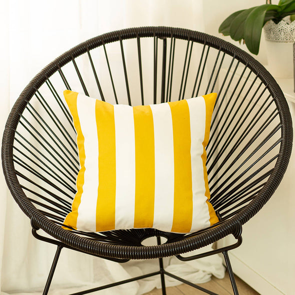 "Yellow Geometric Stripes Square 18"" Throw Pillow Cover"